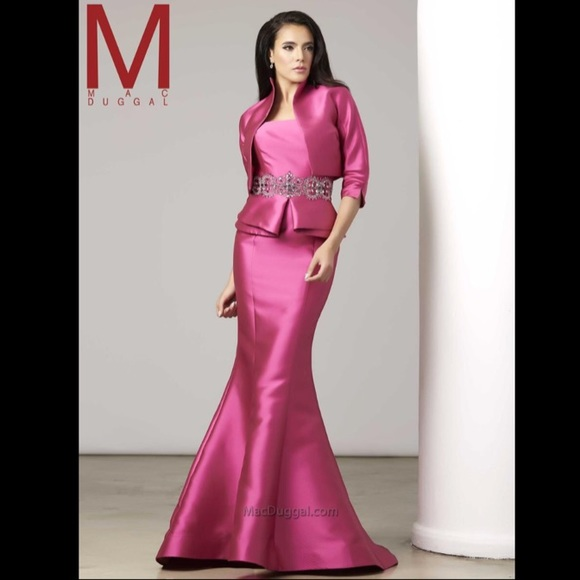 Mac Duggal Dresses | Couture Pink Beaded Gown Jacket 80472 | Poshmark